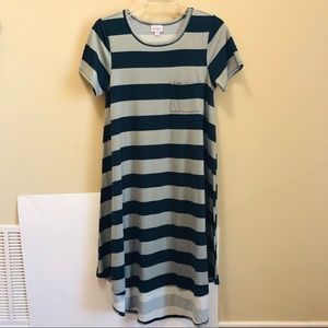 LulaRoe Blue & Gray Wide Striped Carly Dress Sz. S